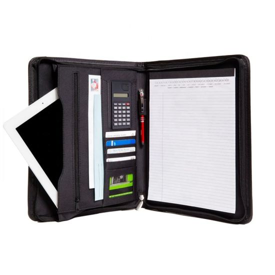 A4 Business Conference Document Organizer File Folder PU Leather Portfolio with Zippered