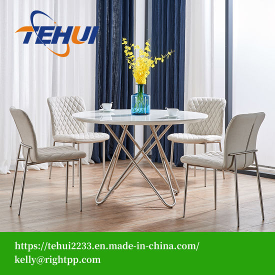 China Hot Sell Modern Stainless Legs Dining Table Tufted ...