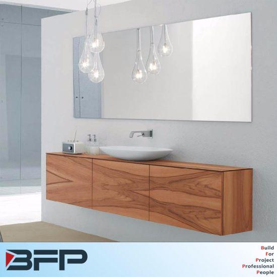 Faced Woodgrain Flat Panel Bathroom Mirror Cabinet With Light