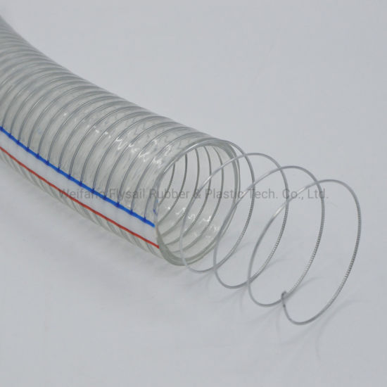 """Clear/Transparent PVC Plastic Spiral Steel Wire Reinforced Suction/Discharge Water/Oil Soft Hose 1/4""""~10"""""""