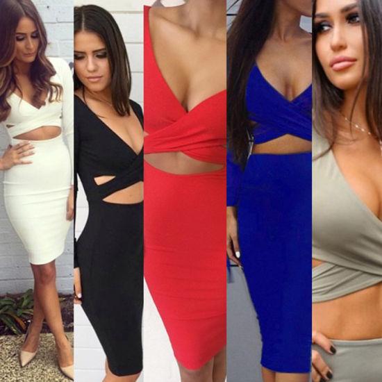 Women's Clothes Long Sleeve Sexy Nightclub Prom Evening Fashion Dresses