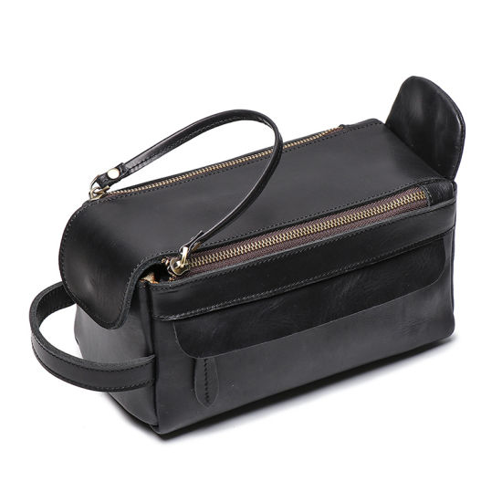 Amazon Hot Selling Low Price Vintage Brown Leather Travel Bag Genuine Leather Cosmetic Bag