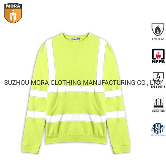 Long Sleeve Hi-Visibility Fluorescent Reflective Tape Safety Shirts