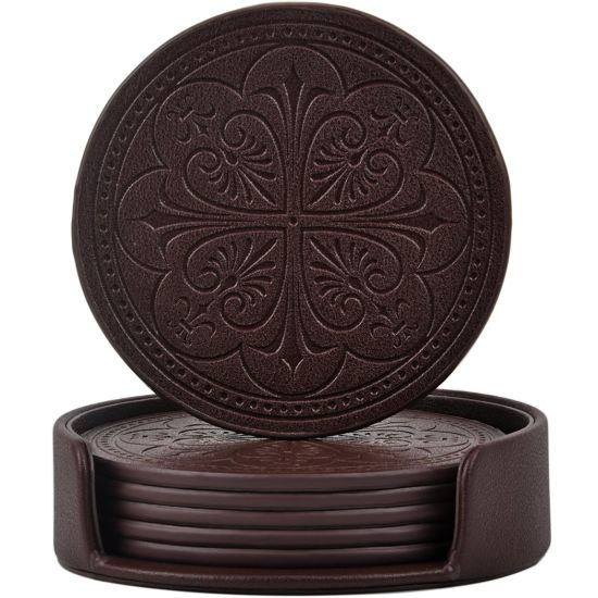 Drink Coasters, PU Leather Coasters for Drinks with Holder
