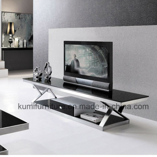 china stainless steel glass top tv stand for hotel furniture china