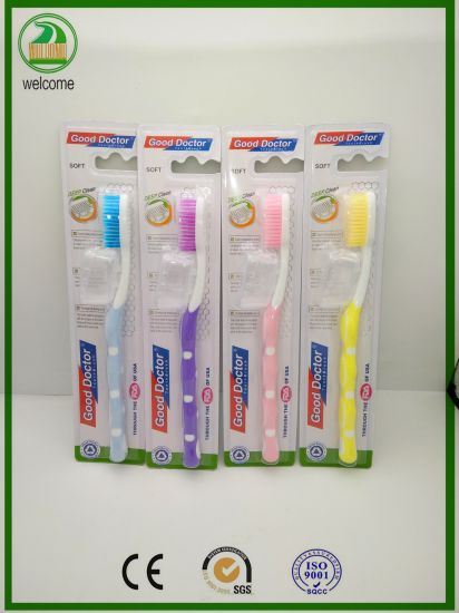 High Quality Free Plastic Jar with Strong Handle Adult Toothbrush