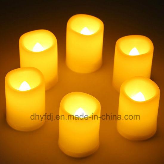 Custom Cheap Mini Plastic Light up Candle, Battery LED Candle Light, White Flame LED Tea Light