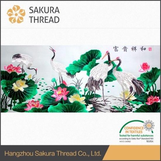 Gift Hanging Flower Embroidery Painting with Scenery for Home Furnishing pictures & photos