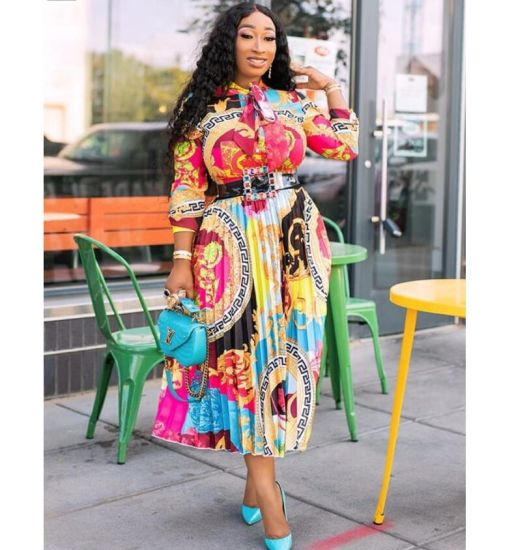 African Print Bowknot MID-Length Dress Plus Size Summer Casual Dress