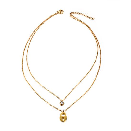 Shiny Polishing Heart Lock Charm Shape 18K Gold Necklace