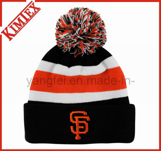 f10fa4585d6 China 100% Acrylic Knitted Cuffed Beanie Hat with POM POM - China ...