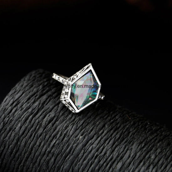 New Alloy Gemstones Inlaid Ring Set Geometric Design Crystal Jewelry for Women pictures & photos