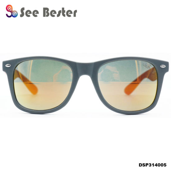85969afa8b 2018 Mirror Lens High Quality Black Plastic Custom Logo Sunglasses