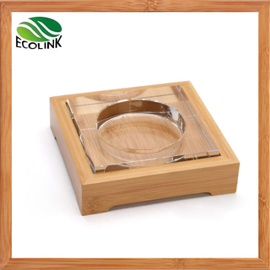 Crystal Ashtray / Cigarette Ashtray / Glass Ashtray with Bamboo Base pictures & photos