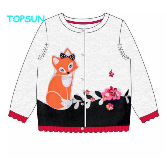 Fashion Baby Knitted Sweater Design Embroidery Children Long Sleeve Cardigan Coat for Kids