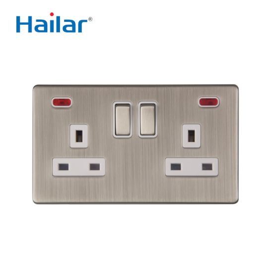 13A 2 Gang Double Pole Switched Socket with Indicator Light