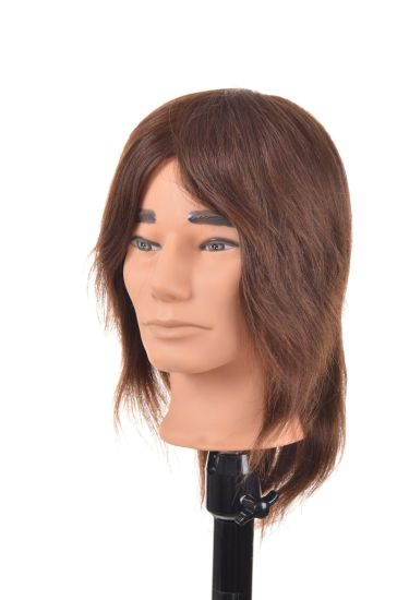 Human Hair Training Head 8inches for Style Training Man Style Mannequin Head
