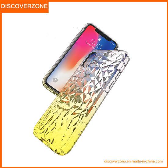 Bulk Cheap Diamond Pattern Gradient Color for iPhone 6 7 8 X Phone Case Transparent