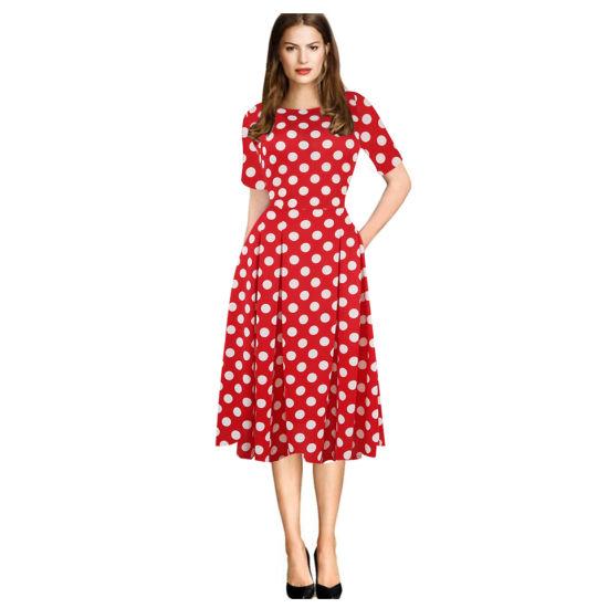 Fashion Medium-Sleeve Printed Round-Necked High-Waist Fluffy Ladies Dress