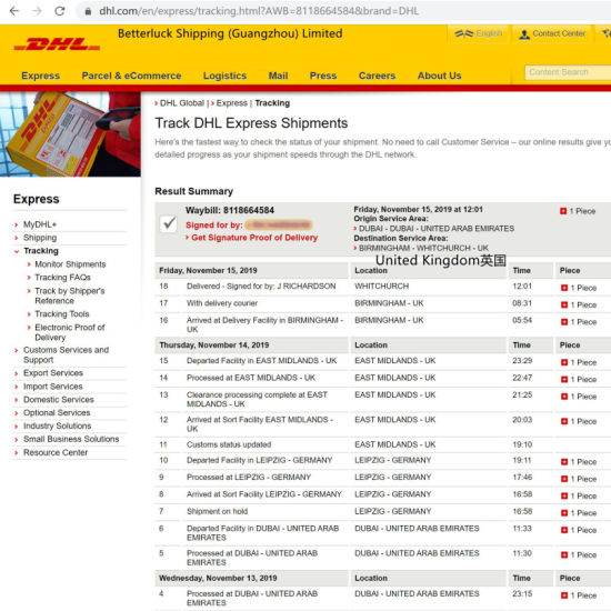 DHL Express Delivery from China to United Kingdom Cheap Prices Dropshipping Services