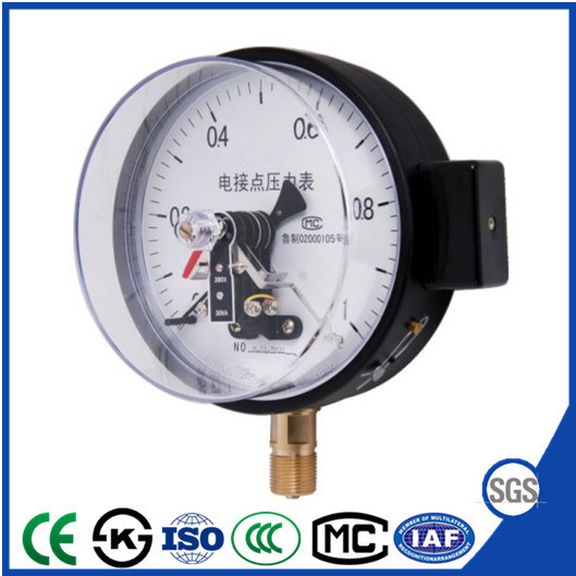 Electric Contact Manometer Pressure Gauge with Brass Connecter
