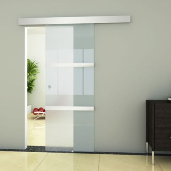 China Best Polished Edge Frosted Sliding Tempered Living Room Door Glass  Wholesale