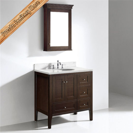 China Fed 1037a Walnut Finishing Solid Wood Single Sink Oak Wood 36