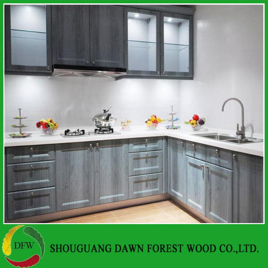 Europe Simple Design Wood Grain Color Kitchen Cabinets