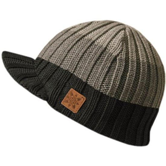 New Design 100% Acrylic Stripe Knitted Beanie with Peak pictures   photos 19838a9bacc9