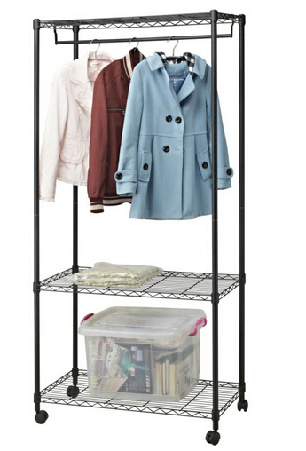 Black Eppoxy Metal Wire Closet Organizer Rack With Wheels Pictures Photos