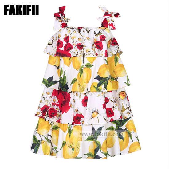 Evening Dress Children Flower Print Girl Skirt Beach Dress