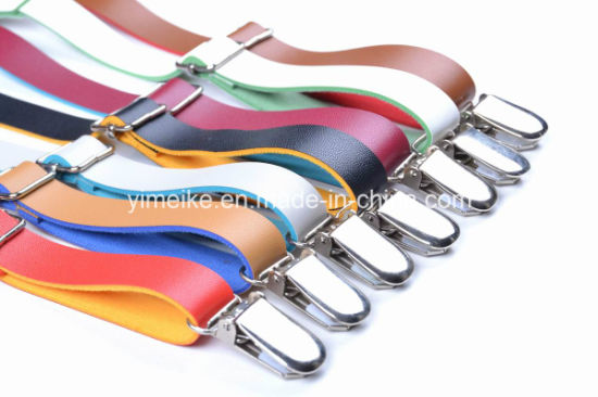 High Quality PU Leather Clip-on Suspender Multi Colors in Stock
