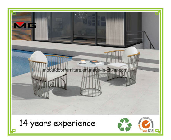 Stainless Steel Outdoor Contract Chairs Garden Sofa With Wood Armrest