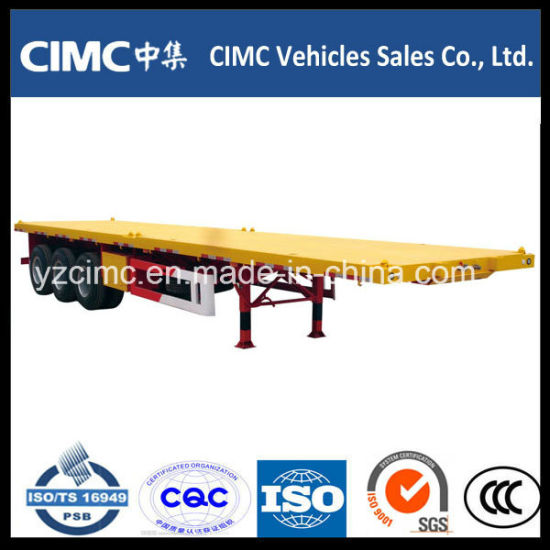 Cimc 3 Axles 40 Tons Flatbed Trailer / Container Chassis pictures & photos