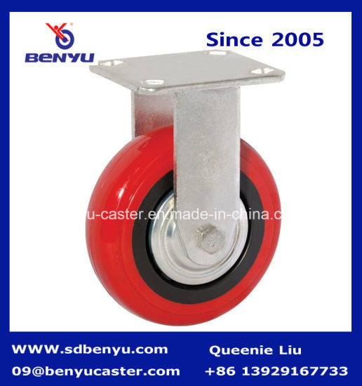 Heavy Duty Arcuate Zinc Plated Swivel Caster Red PU Wheel pictures & photos