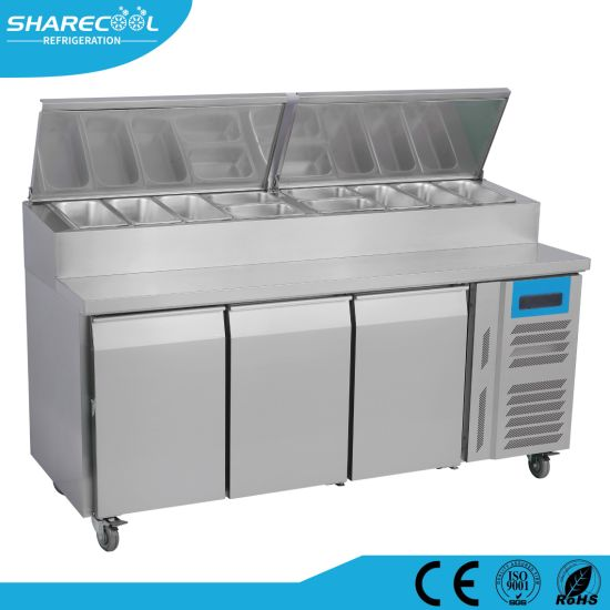 China Three Door Commercial Pizza Prep Table Refrigerator China - Commercial prep table refrigerator