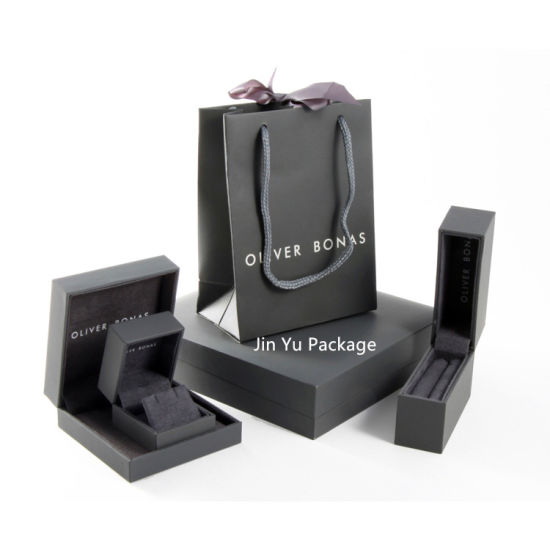 Custom Classic Black Leather Paper Gift Jewelry Packaging Boxes Wholesale pictures & photos