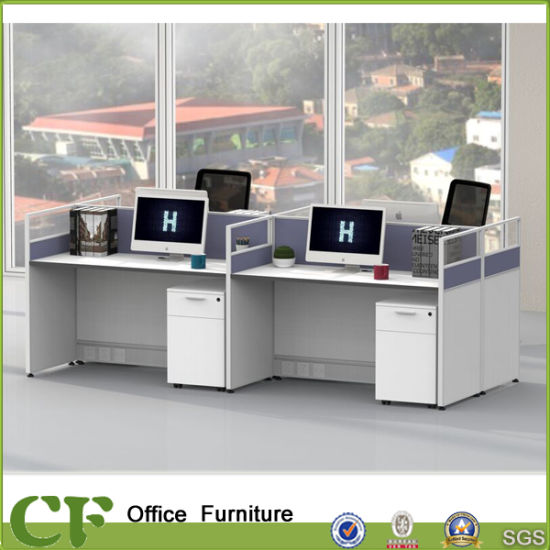 Modern Clear Glass 4 People Office Desk Cubicles