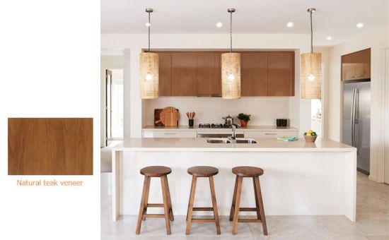 China Natural Wood Veneer With White Lacquer Wooden Kitchen Cabinets