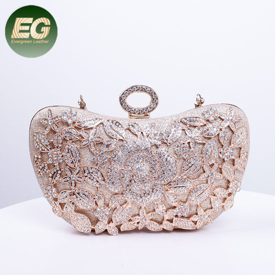 Wholesale Hand Bags 2019 Women Butterfly Design Party Clutch Bag Crystal Wedding Lady Purse Eb1040
