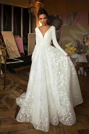 Wedding Dresses Long Sleeve Lace V Neck Floor Length Ball Bridal Gown Customize