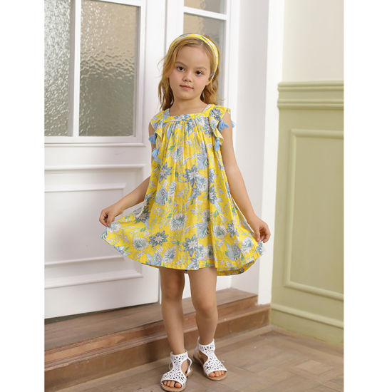 Floral Pattern Children Clothes Yellow Soft Cotton Little Girl Summer Dress