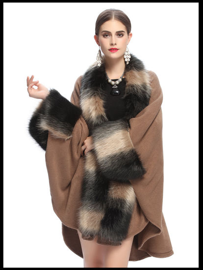 Large Fox Fur Collar Cuff Knitted Shawl Cape Coat pictures & photos