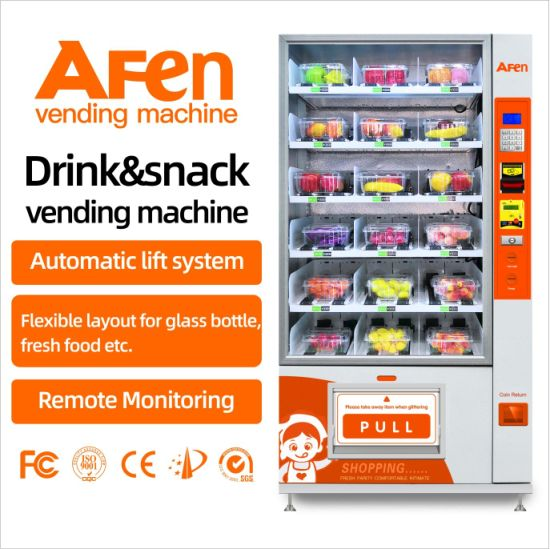 Afen Spring Coil Belt Conveyor Glass Water Egg Fruit Salad Cupcake Vending Machine