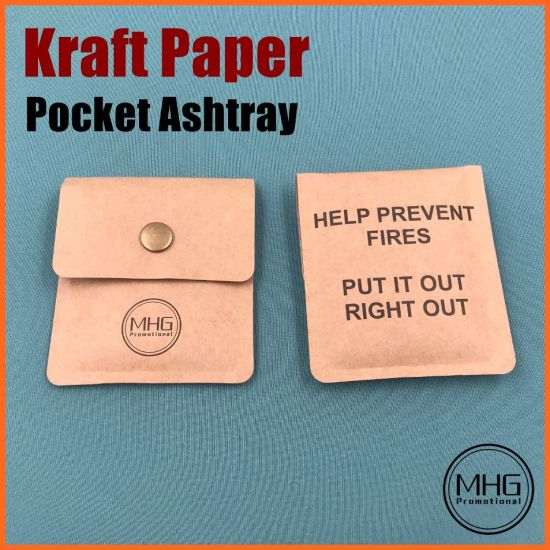 Custom Kraft Paper Pocket Ashtray Portable Butt Stub Cigarette Ash Bag Pouch