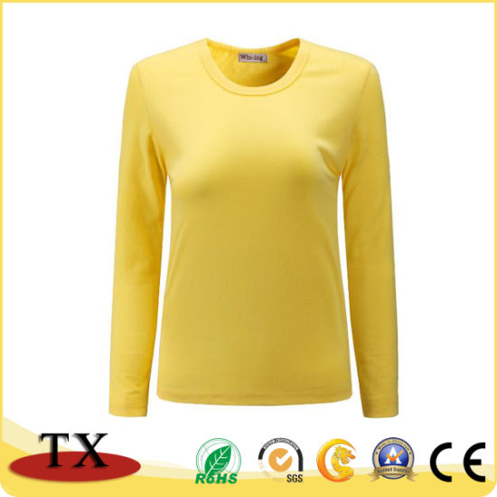 Promotion Beautiful Cotton Long Sleeve Women′s Fashion Shirt Dress pictures & photos