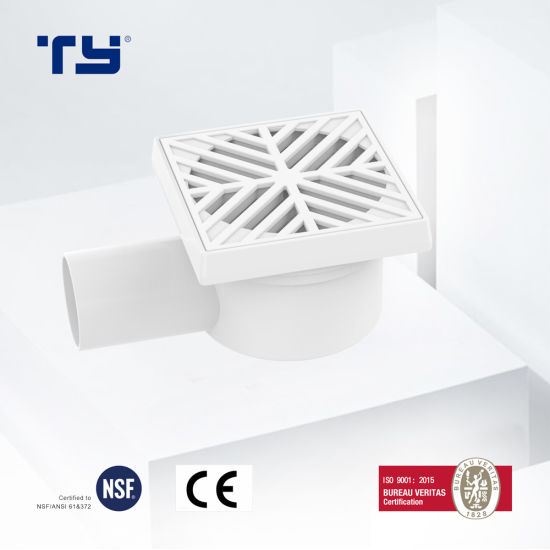 PVC-U Plastic Drainage Waste Pipe Tube Fittings Floor Trap with Outlet BS GB/T 5836.1 Lesson Dosen Tianyan OEM