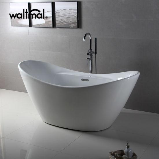 67 Inch Double Slipper Shape Acrylic Ended Freestanding Bath Tub
