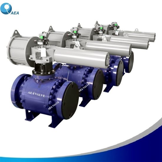Electric Pneumatic Hydraulic Gas Over Oil Actuated Forged Steel Flanged Trunnion Mounted Ball Type Control Emergency Shut Down Shut off ESD Esdv Valve