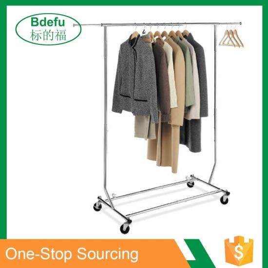 Flooring Stand Chrome Plating Adjustable Height Clothes Hanger Rack